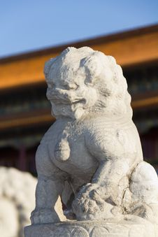 The Stone Lion In Front Of Tiananmen Royalty Free Stock Photos