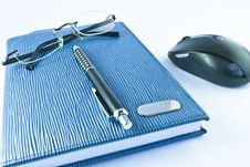 Free Glasses,black Pen,notebookwith Mouse Stock Photography - 19494512