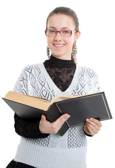 Free Girl With Glasses Reading A Thick Book Royalty Free Stock Photos - 19494768