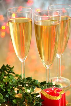 Free Champagne In Glasses And Green Twig Stock Images - 19495794