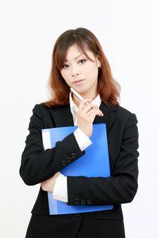 Yuong Business Woman Thinking Stock Photography