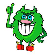 Free Fluffy Green Monster Stock Image - 19496151