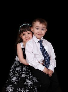 Free Adorable Portrait Of Brother And Sister.isolated Stock Image - 19497451