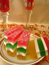 Free Celebratory Table (Color Jelly Cake On Plate And Two Red Glasses Royalty Free Stock Photography - 1956227