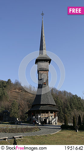 Wooden church front view Stock Photo