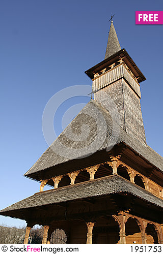 Wooden church front view detail Stock Photo
