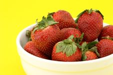 Close-up Bowl Of Strawberries Royalty Free Stock Photo