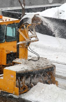 Snowblower In Action 2 (snowing In Same Time) Stock Images