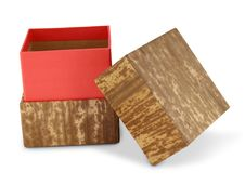 Red Gift Box With Bamboo Royalty Free Stock Photo