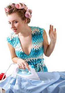 Free Ironing Woman Royalty Free Stock Photos - 1954168