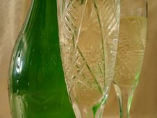 Free Close-up View Of Champagne Glasses With Bottle On Golden Backgro Royalty Free Stock Photography - 1955597