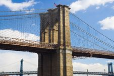 Tower Of The Brooklyn Bridge Stock Images