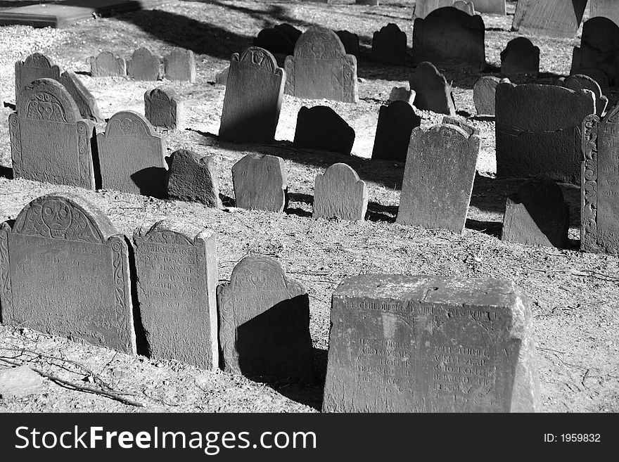Old graves in bright sunlight