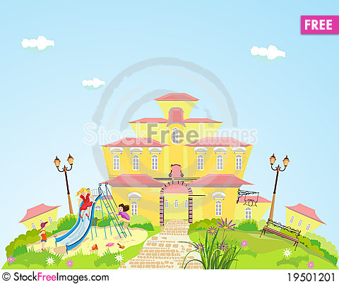Cartoon bulding with children playing near it Stock Photo