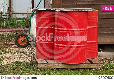 Three fire barrels Stock Photo