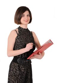 Free Girl With A Folder Royalty Free Stock Image - 19500456