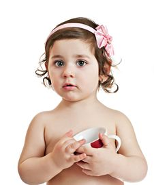 Free Small Beautiful Baby Girl With Cup Stock Image - 19500841