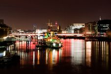 HMS Belfast At Night Stock Photography