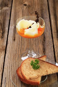 Soft Boiled Egg And Fried Bread Stock Photography