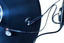 Free Vinyl Record With Earphones Stock Photo - 19504340