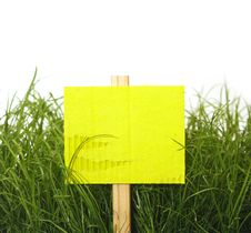 Free Cardboard Sign With Grass Royalty Free Stock Photography - 19506307