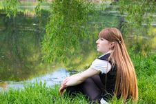 Beautiful Woman Relaxing At The Park Stock Image