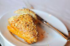 Sesame Bun Toast On Plate Stock Photos