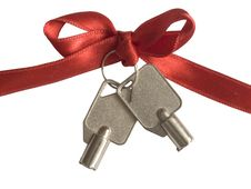 Free Keys On The Red Ribbon, Royalty Free Stock Photo - 19508245