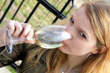 Girl Drinking Wine Royalty Free Stock Photo