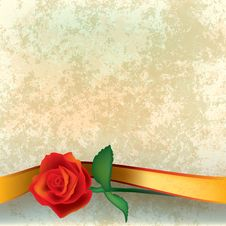 Free Abstract Grunge Illustration With Rose And Ribbon Stock Photo - 19509540