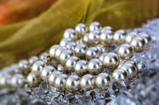 Free Elegant Pearls Over Ice With Ribbon Royalty Free Stock Photo - 19509735