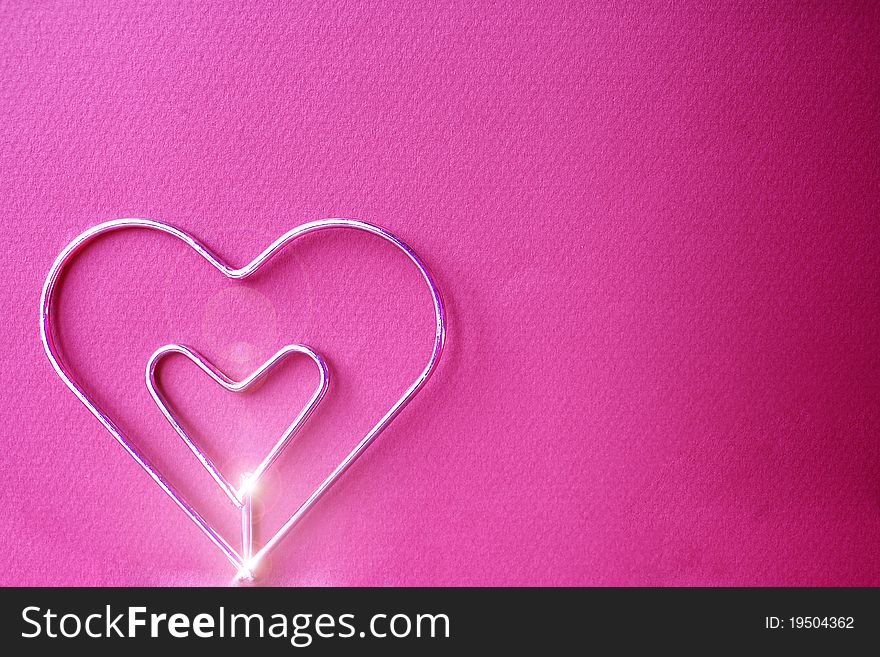 Metal Heart With Fucsia Background - Free Stock Images