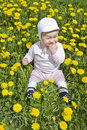 Free Baby Sitting In Meadow With Dandelions Royalty Free Stock Image - 19513146