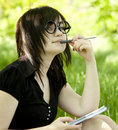Free Young Teen Girl With Notebook At Green Grass Stock Photography - 19516932