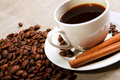 Free Cup Of Coffee With Tubes Of Cinnamon Royalty Free Stock Photos - 19519678