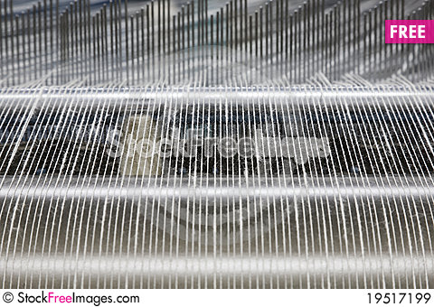 Warping machine in a textile weaving factory Stock Photo
