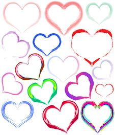 Free Painted Colorful Hearts Stock Photography - 19511512