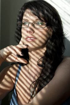 Free Girl With Glasses Near Shutters Stock Photo - 19511530
