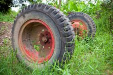 Old Used Car Tires Royalty Free Stock Photography