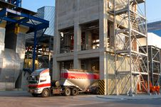 Mixer Concrete Loading Tower Plant And Truck Royalty Free Stock Photo
