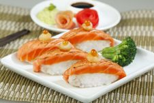 Free Salmon Sushi A Great Taste Of Japanese Food Stock Photography - 19513882