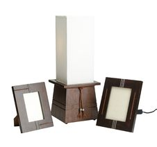 Free Wooden Lamp And Photo Frames Isolated Stock Images - 19513994