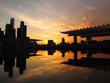 Sunset At Marina Bay Stock Photography