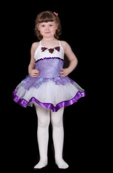 Free Little Girl Posing In Ballet Costume. Isolated Stock Photography - 19514512