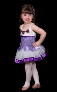 Little Girl Posing In Ballet Outfit. Isolated Stock Images