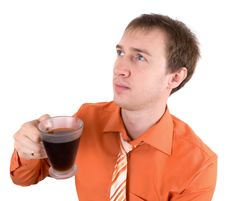 Free Young The Man Drinks Coffee Royalty Free Stock Photo - 19515125