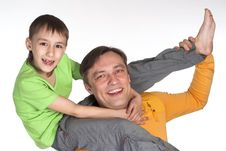 Happy Dad And  His Son Stock Photography