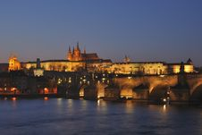 Night Prague Panorama Stock Photography
