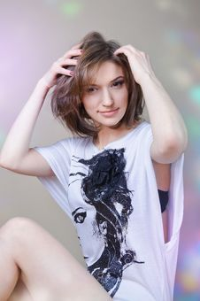 Free Beautiful Girl In A T-shirt Stock Images - 19516714