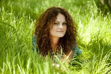 Free Redhead Girl At Green Grass Royalty Free Stock Photography - 19516917